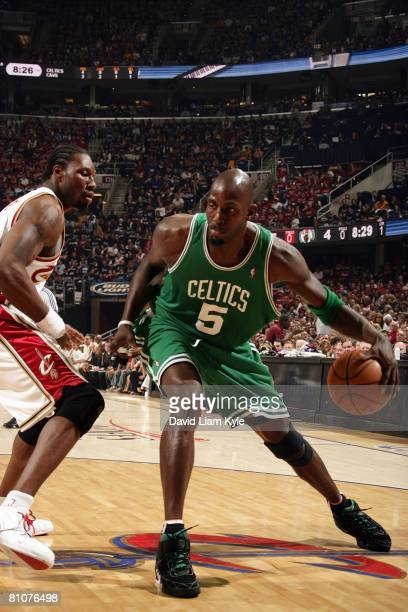 Kevin Garnett of the Boston Celtics makes a move to the basket against Ben Wallace of the Cleveland Cavaliers in Game Three of the Eastern Conference...