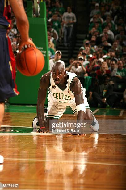 Kevin Garnett of the Boston Celtics plays defense against the Cleveland Cavilers on October 28 2008 at the TD Banknorth Garden Arena in Boston...