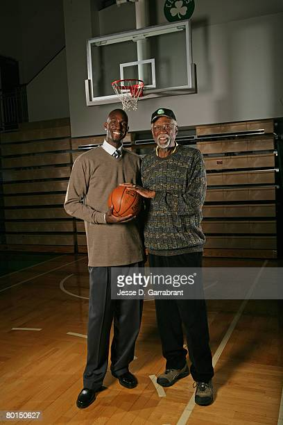 Kevin Garnett of the Boston Celtics poses for a photo with NBA legend Bill Russell on March 6 2008 at the Sports Authority Training Center at...