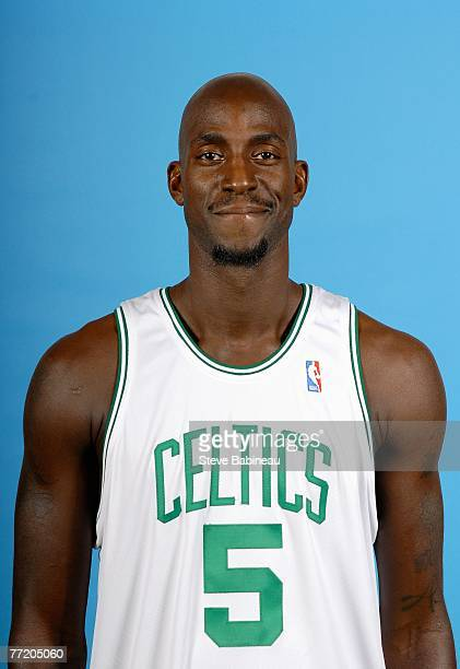 Kevin Garnett of the Boston Celtics poses for a portrait during NBA Media Day at the Celtics Practice Facility on September 28 2007 in Waltham...