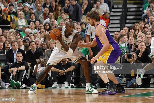 Kevin Garnett of the Boston Celtics posts up against Pau Gasol of the Los Angeles Lakers during the game on February 5 2009 at TD Banknorth Garden in...
