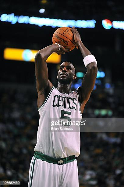 Kevin Garnett of the Boston Celtics prepares to shoot a free throw during a game against the New Jersey Nets on October 20 2010 at the TD Garden in...