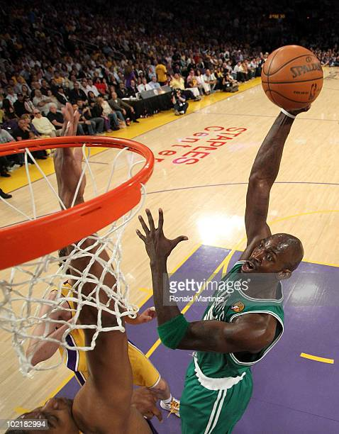 Kevin Garnett of the Boston Celtics puts a shot up over Andrew Bynum of the Los Angeles Lakers in Game Seven of the 2010 NBA Finals at Staples Center...