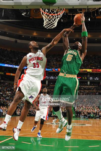 Kevin Garnett of the Boston Celtics puts up a shot in the lane against DaJuan Summers of the Detroit Pistons on March 15 2010 at the TD Garden in...