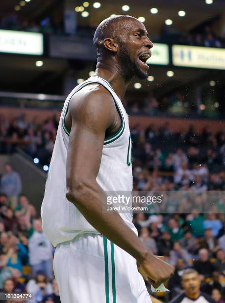 Kevin Garnett of the Boston Celtics reacts after making a basket and being fouled against the Denver Nuggets during the game on February 10 2013 at...