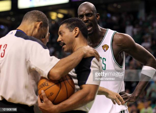 Kevin Garnett of the Boston Celtics reacts as the referees discuss a call in the fourth quarter against the Los Angeles Lakers Game Three of the 2010...