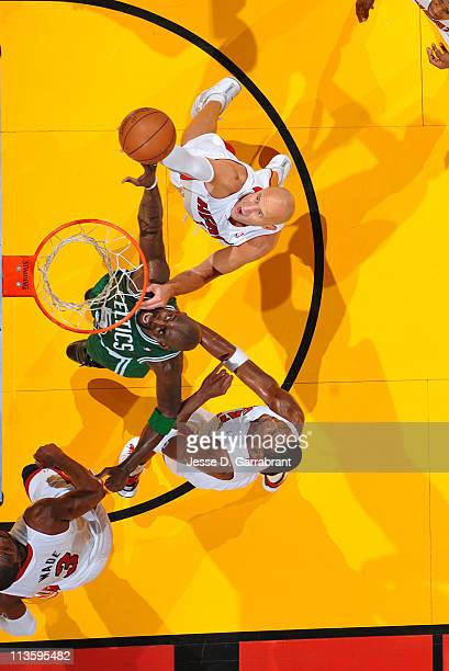 Kevin Garnett of the Boston Celtics rebounds against Zydrunas Ilgauskas of the Miami Heat during Game Two of the Eastern Conference Semifinals in the...