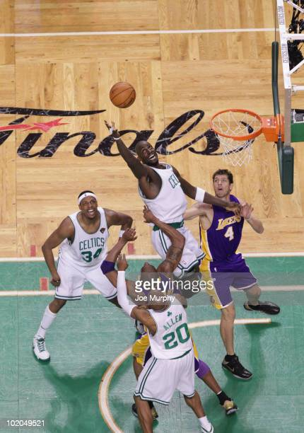 Kevin Garnett of the Boston Celtics shoots against Andrew Bynum of the Los Angeles Lakers in Game Five of the 2010 NBA Finals on June 13 2010 at TD...
