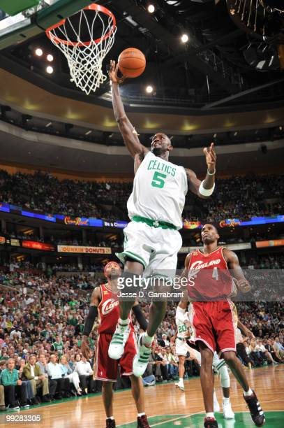Kevin Garnett of the Boston Celtics shoots against Antawn Jamison of the Cleveland Cavaliers in Game Six of the Eastern Conference Semifinals during...