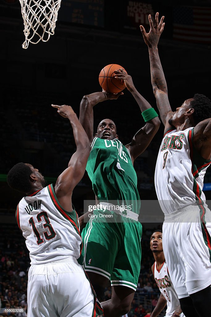 Kevin Garnett #5 of the Boston Celtics shoots against (L-R) Ekpe Udoh #13 and Larry Sanders #8 of the Milwaukee Bucks during the NBA game on November 10, 2012 at the BMO Harris Bradley Center in Milwaukee, Wisconsin.