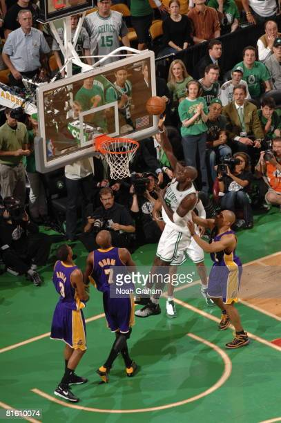 Kevin Garnett of the Boston Celtics shoots against Lamar Odom of the Los Angeles Lakers during Game Six of the 2008 NBA Finals on June 17 2008 at TD...