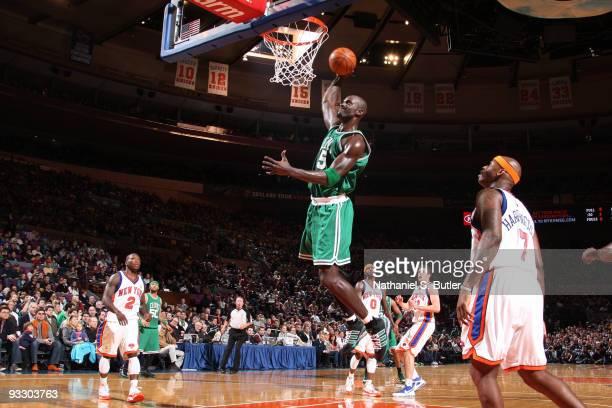 Kevin Garnett of the Boston Celtics shoots against the New York Knicks on November 22, 2009 at Madison Square Garden in New York City. NOTE TO USER:...
