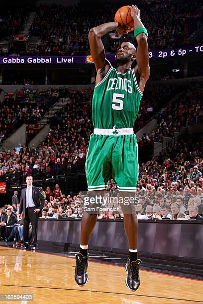 Kevin Garnett of the Boston Celtics shoots against the Portland Trail Blazers on February 24 2013 at the Rose Garden Arena in Portland Oregon NOTE TO...