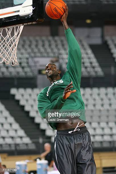 Kevin Garnett of the Boston Celtics shoots during practice as part of the 2007 NBA Europe Live Tour on October 2, 2007 at the Lottomattica in Rome,...