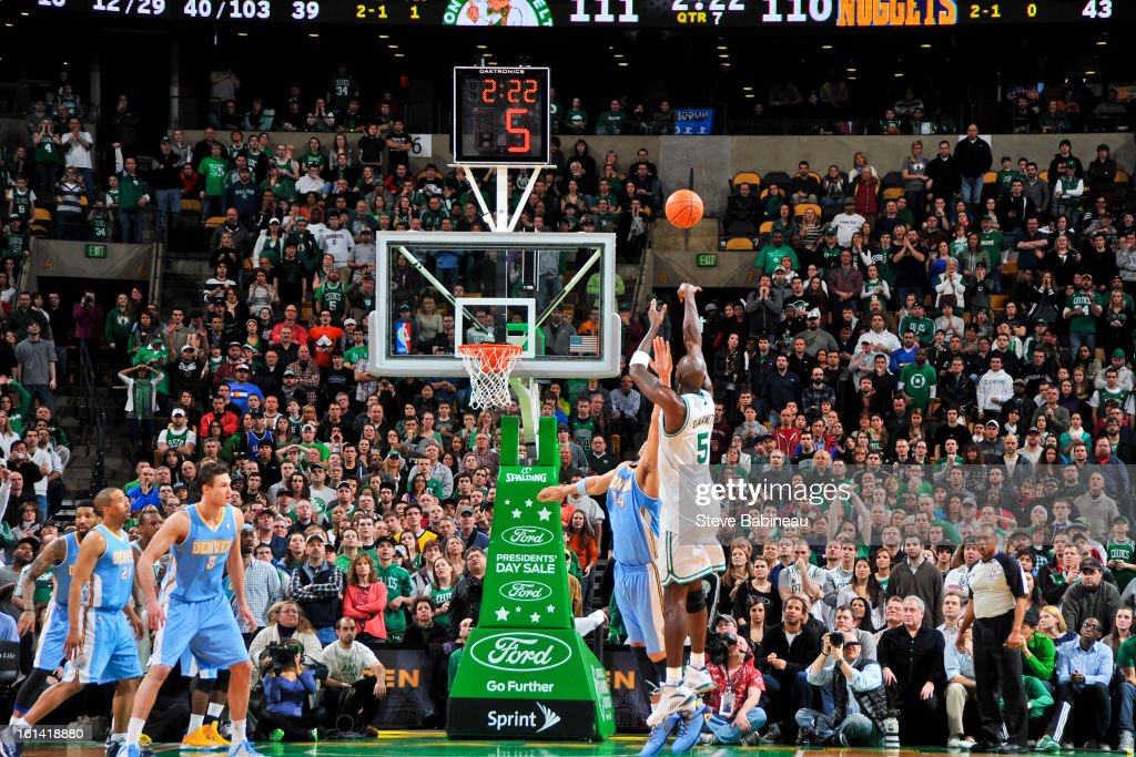 Kevin Garnett #5 of the Boston Celtics shoots in triple overtime against the Denver Nuggets on February 10, 2013 at the TD Garden in Boston, Massachusetts.