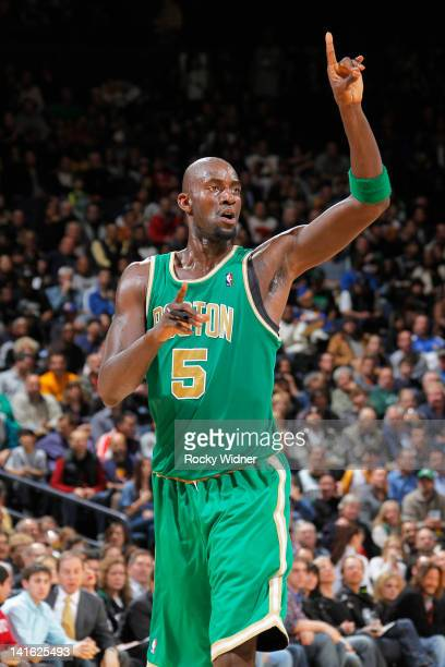 Kevin Garnett of the Boston Celtics signals to his teammates while facing off against the Golden State Warriors on March 14 2012 at Oracle Arena in...