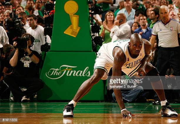 Kevin Garnett of the Boston Celtics stretches during Game Six of the 2008 NBA Finals against the Los Angeles Lakers on June 17 2008 at the TD...