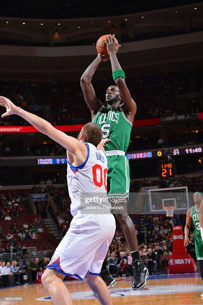 Kevin Garnett #5 of the Boston Celtics takes a shot against the Philadelphia 76ers on March 5, 2013 at the Wells Fargo Center in Philadelphia, Pennsylvania.