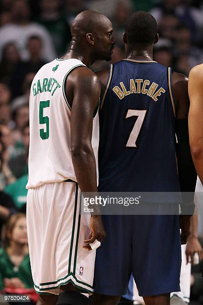Kevin Garnett of the Boston Celtics tries to intimidate Andray Blatche of the Washington Wizards on March 7 2010 at the TD Garden in Boston...