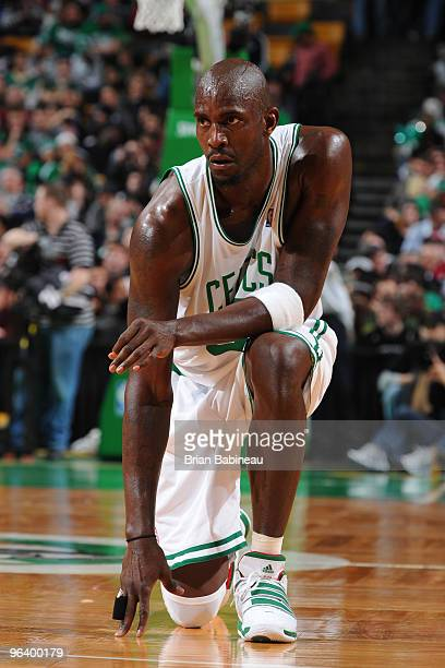 Kevin Garnett of the Boston Celtics waits for play to resume during the game against the Miami Heat on February 3 2010 at the TD Garden in Boston...