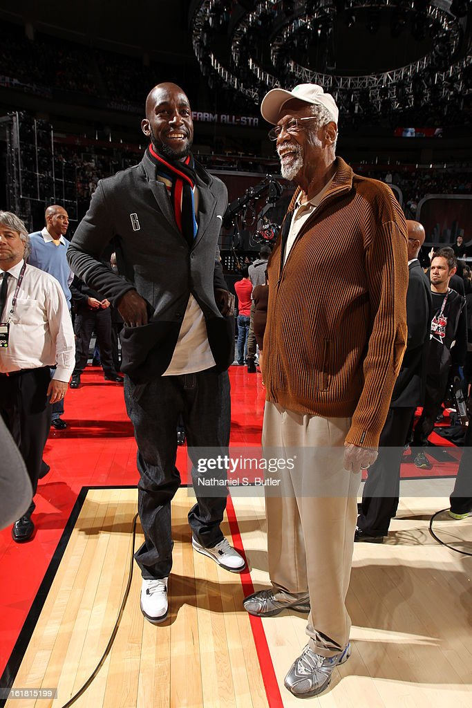 Kevin Garnett #5 of the Boston Celtics with Hall of Fame member William Felton 'Bill' Russell before State Farm All-Star Saturday Night of the 2013 NBA All-Star Weekend on February 16, 2013 at the Toyota Center in Houston, Texas.