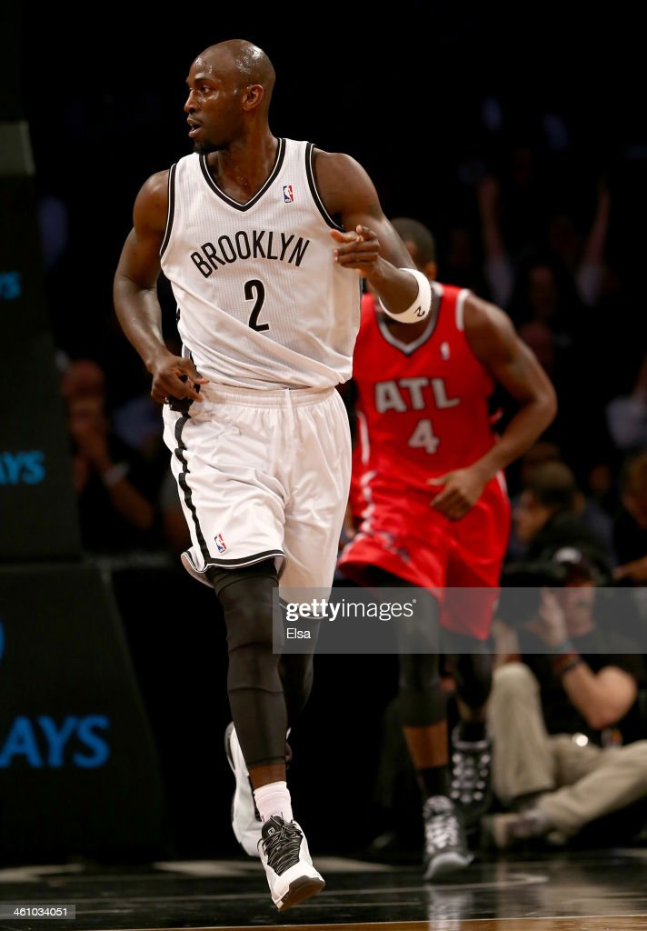 Kevin Garnett #2 of the Brooklyn Nets celebrates a basket in the first half against the Atlanta Hawks at the Barclays Center on January 6, 2014 in the Brooklyn borough of New York City.