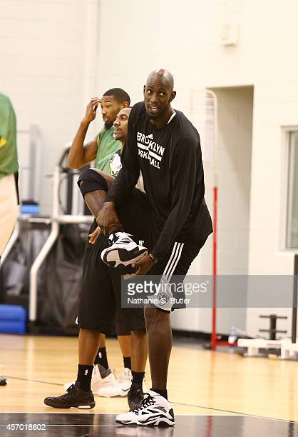 Kevin Garnett of the Brooklyn Nets during practice on October 05 2014 at the Brooklyn Nets practice facility in East Rutherford New Jersey NOTE TO...
