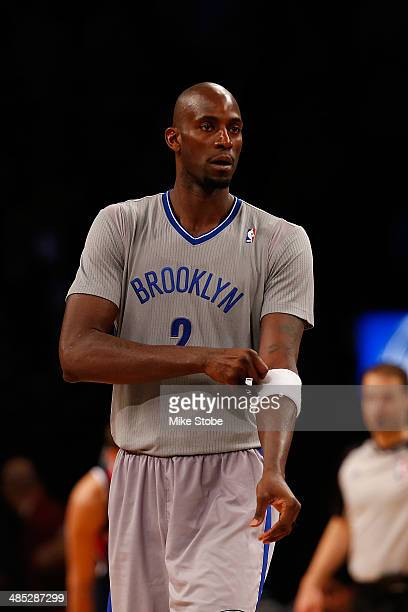 Kevin Garnett of the Brooklyn Nets in action against the Atlanta Hawks at Barclays Center on April 11 2014 in New York City NOTE TO USER User...