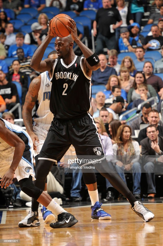 Kevin Garnett #2 of the Brooklyn Nets looks to pass the ball against the Orlando Magic during the game on April 9, 2014 at Amway Center in Orlando, Florida.