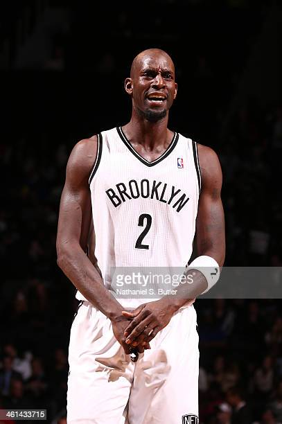Kevin Garnett of the Brooklyn Nets reacts against the Golden State Warriors during a game at the Barclays Center on January 8 2014 in the Brooklyn...