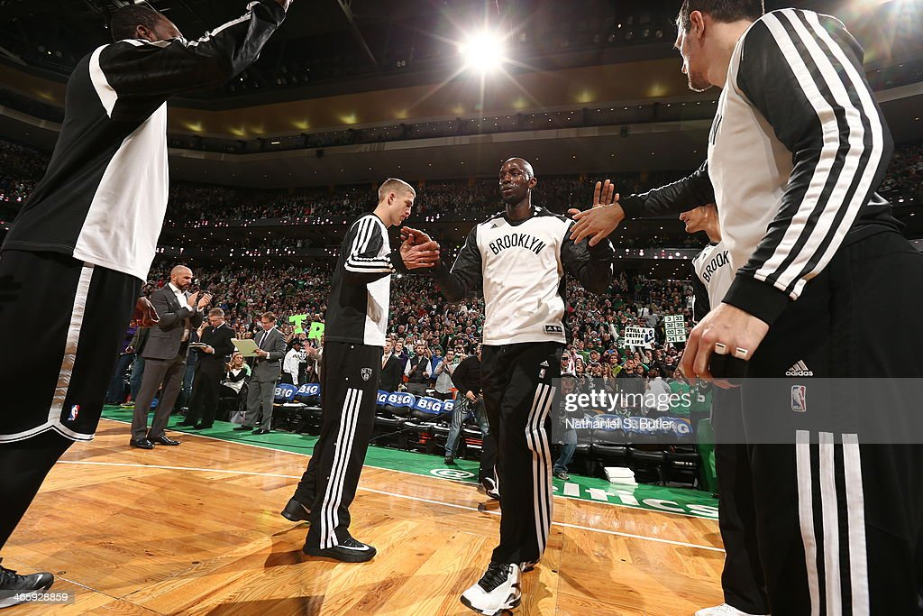 Kevin Garnett #2 of the Brooklyn Nets runs out before the game against the Boston Celtics at TD Garden in Boston.