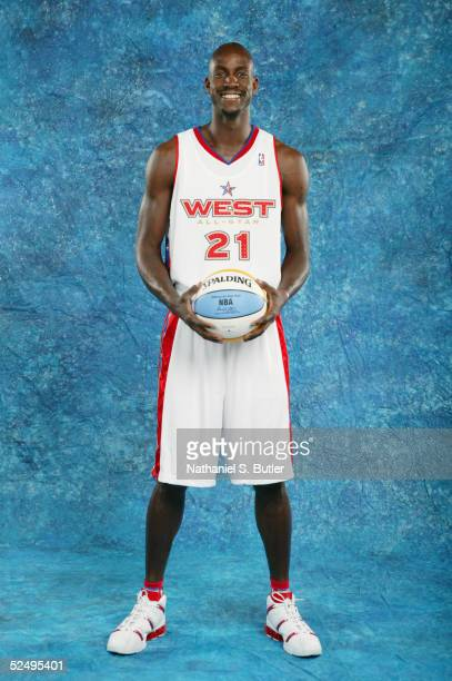 Kevin Garnett of the Eastern Conference AllStars poses for a portrait prior to the 54th AllStar Game part of 2005 NBA AllStar Weekend at Pepsi Center...