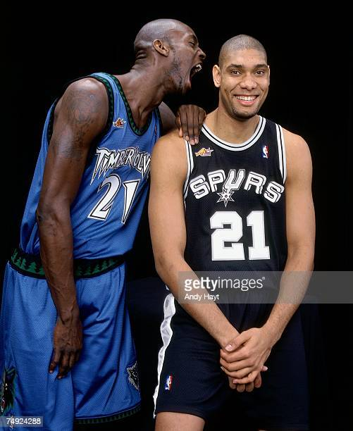 Kevin Garnett of the Minnesota Timberwolves and Tim Duncan of the San Antonio Spurs pose for a 2000 photo NOTE TO USER User expressly acknowledges...