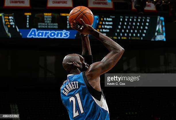Kevin Garnett of the Minnesota Timberwolves attempts a shot against the Atlanta Hawks at Philips Arena on November 9 2015 in Atlanta Georgia NOTE TO...