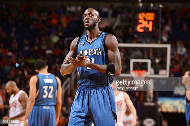 Kevin Garnett of the Minnesota Timberwolves before the game against the Phoenix Suns on December 13 2015 at Talking Sticks Resort Arena in Phoenix...