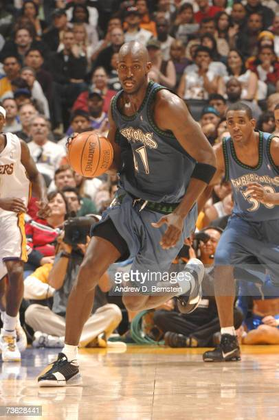 Kevin Garnett of the Minnesota Timberwolves brings the ball up the court against the Los Angeles Lakers on March 18 2007 at Staples Center in Los...