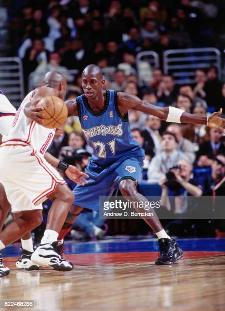 Kevin Garnett of the Minnesota Timberwolves defends during the 1997 AllStar Game on February 9 1997 at Gund Arena in Cleveland Ohio NOTE TO USER User...