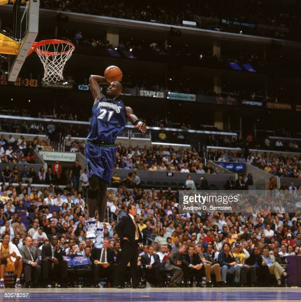 Kevin Garnett of the Minnesota Timberwolves dunks during the game against the Los Angeles Lakers at Staples Center on January 19 2005 in Los Angeles...