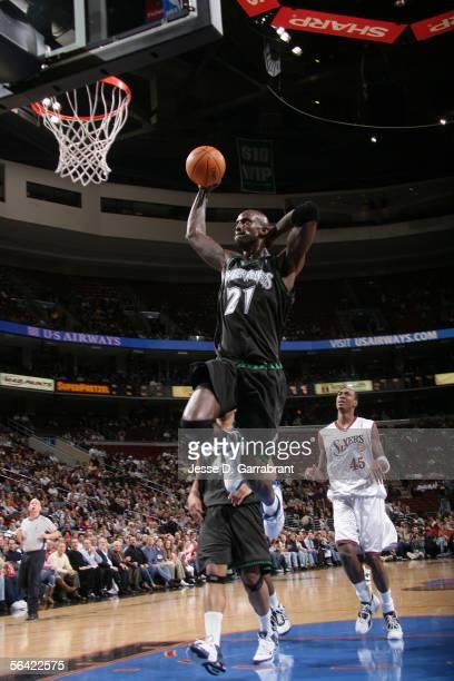 Kevin Garnett of the Minnesota Timberwolves dunks the Philadelphia 76ers on December 12, 2005 at the Wachovia Center in Philadelphia, Pennsylvania....