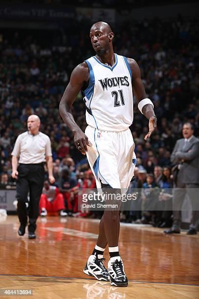 Kevin Garnett of the Minnesota Timberwolves during the game against the Washington Wizards on February 25 2015 at Target Center in Minneapolis...