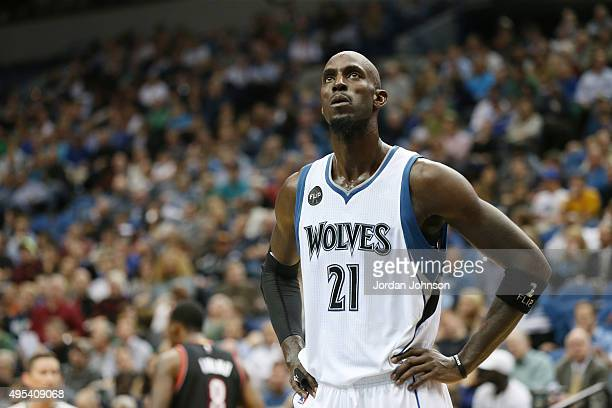 Kevin Garnett of the Minnesota Timberwolves during the game against the Portland Trail Blazers on November 2 2015 at Target Center in Minneapolis...