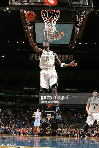 Kevin Garnett of the Minnesota Timberwolves goes for the rebound during the game against the Sacramento Kings on December 18 2015 at Target Center in...