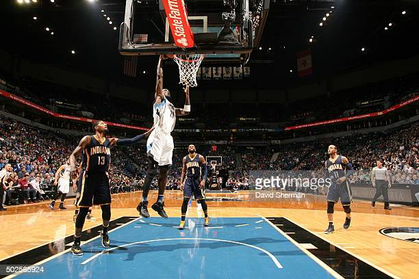 Kevin Garnett of the Minnesota Timberwolves goes to the basket against the Indiana Pacers on December 26 2015 at Target Center in Minneapolis...