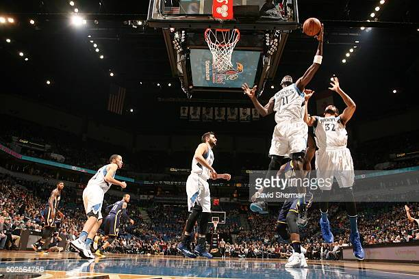 Kevin Garnett of the Minnesota Timberwolves grabs the rebound against the Indiana Pacers on December 26 2015 at Target Center in Minneapolis...