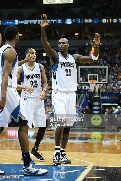 Kevin Garnett of the Minnesota Timberwolves high fives teammates during the game against the Washington Wizards on February 25 2015 at Target Center...