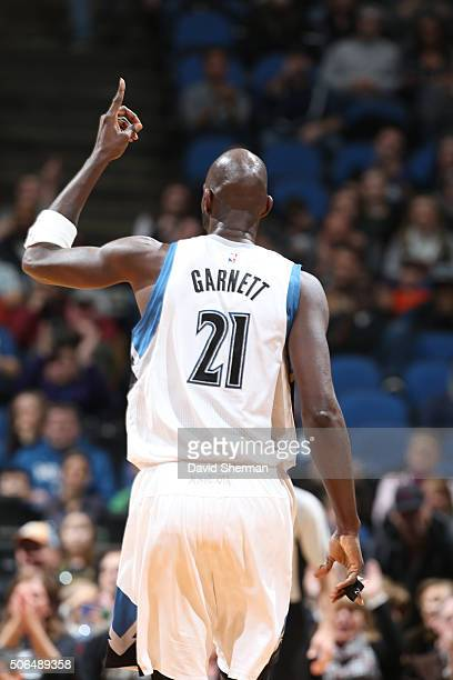 Kevin Garnett of the Minnesota Timberwolves in the game against the Memphis Grizzlies on January 23 2016 at Target Center in Minneapolis Minnesota...