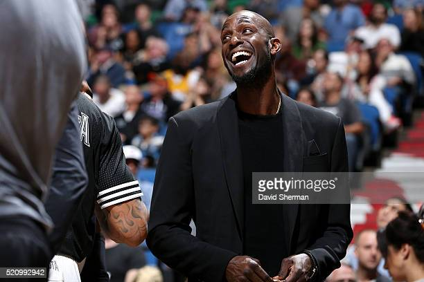 Kevin Garnett of the Minnesota Timberwolves looks on during the game against the New Orleans Pelicans on April 13 2016 at Target Center in...
