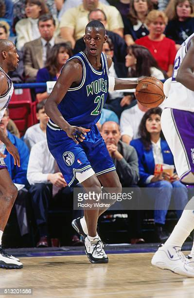 Kevin Garnett of the Minnesota Timberwolves posts up against the Sacramento Kings circa 1996 at Arco Arena in Sacramento California NOTE TO USER User...