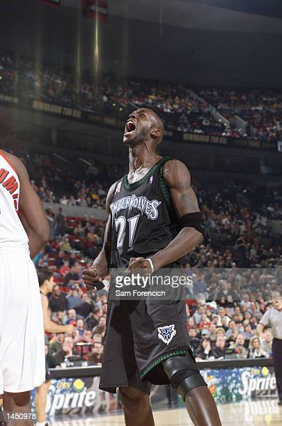 Kevin Garnett of the Minnesota Timberwolves reacts after a tough shot against the Portland Trail Blazers at the Rose Garden in Portland Oregon...