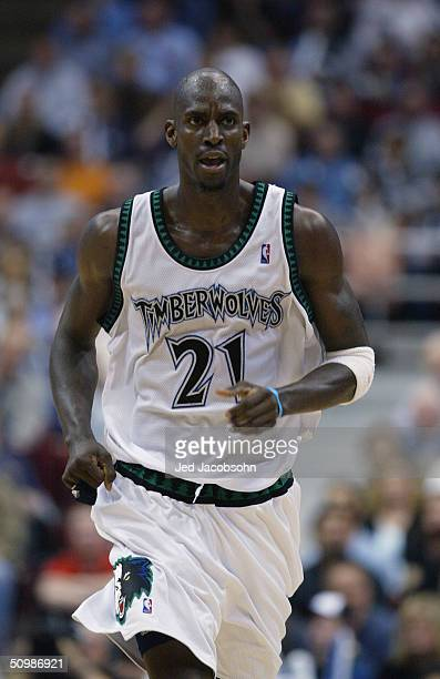 Kevin Garnett of the Minnesota Timberwolves runs in Game five of the Western Conference Finals against the Los Angeles Lakers during the 2004 NBA...